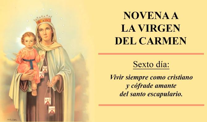 Resultado de imagen de virgen del carmen novena sexto dia